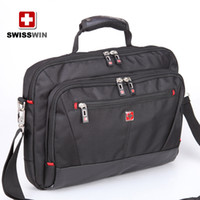 Wholesale 15 inch top grade good quality black SWISSWIN army knife polyester business houlder bag computer bag briefcase bag for men BDD SW6219