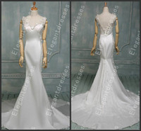 Wholesale Actual Images Elie Saab Beautiful Chapel Train Crystal Wedding Dresses Bridal Gowns Ta59