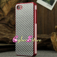For Apple iPhone metal panel - iphone C Top Grade Aluminum Metal Housing Bumper Case with Carbon Fiber Material Panel Cover For for iphone C With Retail Package