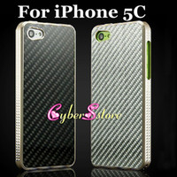 Wholesale iphone C Case Top Quality Aluminum Metal Housing Bumper Case with Carbon Fiber Material Panel Cover for iphone C With Retail Package