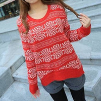 Women Cotton Round Sweater long sleeve oversized sweaters for women 2014 Vintage totem loose pullovers short knitwears top sale W4309