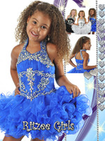 Cheap Royal Blue White Black 2014 Crystal Halter Zipper Backless Short fFower Girl Dresses Little Girls Pageant Dresses Kids Ball Gowns for Girls