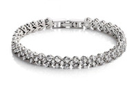 Wholesale New Women Silver Plated Shining Crystal Party Bracelet Zircon Bangle Silver Fine Jewelry BL