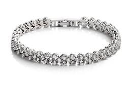 New Women 925 Silver Plated Shining Crystal Party Bracelet Zircon Bangle Silver Fine Jewelry BL