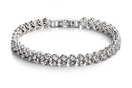 New Women Silver Fine Jewelry 925 Silver Plated Shining Crystal Party Bracelet Bangle BL