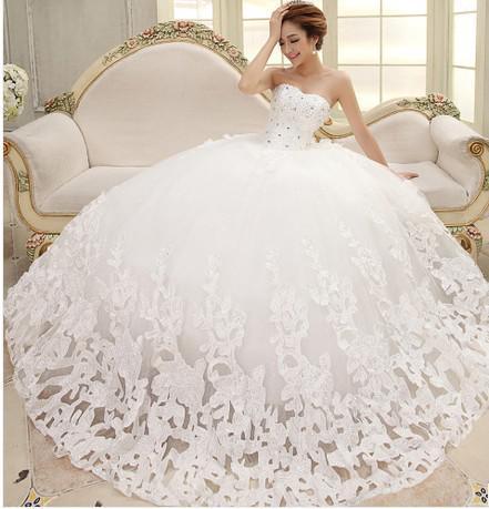 Bride Wedding Dresses Beatiful Rhinestone Bridal Big Skirt Elegant ...