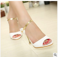 Wholesale sandals heel summer dress shoes woman chain open toe sandals shoes woman high heeled evening shoes sandals high heels slippers
