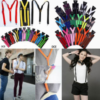 Wholesale Unisex Clip on Adjustable Braces Elastic Y back Suspenders Mens Womens Colors DCE1