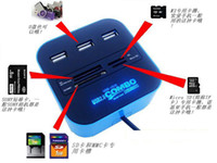 Wholesale 3 ports USB hub Combo All In One Multi Card Reader for SD MMC M2 MS