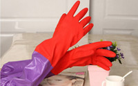 Wholesale Durable and thicken rubber with velvet inner CM warm dish Household gloves latex dishwashing gloves long clean gloves High quality