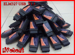 Wholesale Cable Usb Elm327 - Wholesale 20 pcs OBD OBDII scanner ELM 327 car diagnostic interface scan tool ELM327 USB supports all OBD-II protocols with Free Shipping