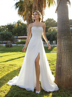 A-Line Real Photos Strapless 2014 Simple Strapless A-Line Chiffon Wedding Dresses Demetrios Ruched Floor Length Chapel Train Side Slit Bridal Gowns
