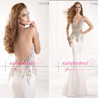 Wholesale 2014 Spring Summer Evening Gowns Sexy Illusion Crew Neck Crystals Rhinestone Satin Backless Mermaid Vintage Pageant Prom Dresses
