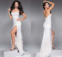 Wholesale HQ Gorgeous New Arrival Feather Prom Dresses Excellent Qulity Shinning Beaded Line Sexy Open Back Side Slit White Long Evening Gowns