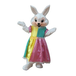 Wholesale Real Pictures Deluxe Cute Female Easter Bunny Mascot Costume Rabbit Mascot Costume With Fan amp Helmet FT30624