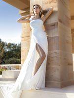 A-Line Real Photos One-Shoulder 2014 Simple oen shoulder A-Line Chiffon Wedding Dresses Demetrios Ruched Floor Length Chapel Train Bridal Gowns