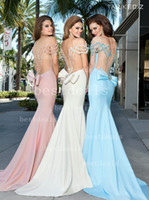 Reference Images pink mermaid prom dresses - sexy pink ivory light sky blue off shoulder sweetheart sheer backless satin mermaid evening dresses with bow long prom dresses TE92404