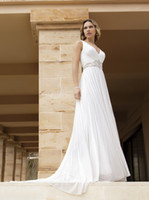 A-Line Real Photos One-Shoulder 2014 Simple Plunging A-Line Chiffon Wedding Dresses Demetrios Ruched Beaded Floor Length Chapel Train Bridal Gowns