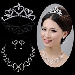 Wholesale Heart shaped crystal crown necklace bride wedding dress accessories hair bands fashion wedding accessories
