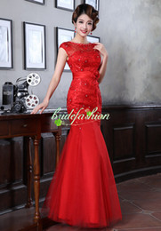 Wholesale Cheap High Quality Red Traditonal Chinese Dress High Neck Fashion Vintage Lace Satin Tea Length Cheongsam Toast Clothing