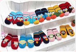 Wholesale New children owl robot finger gloves baby knitted soft mitten gloves in winter K0227