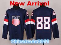 Ice Hockey Men Full 2014 Unveils the USA Hockey Jerseys for the Olympics Navy Blue Sports Shirts with Embroidery Logo 88 Kane Olympics Hockey Jerseys