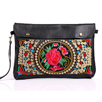 Wholesale New IPAD Leather bag embroidered ethnic style envelope clutch bag retro shoulder bag diagonal CH03