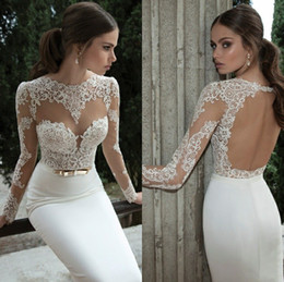 Wholesale 2015 Sheer Vintage Wedding Dresses Lace Appliqued Jewel Neck Long Sleeves Backless Sheath Court Train White Berta Bridal Gowns SSJ Prom