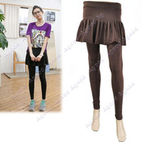 Wholesale Women s Skirt Leggings Footless Cotton Pleated Tights Long Pants Stretch