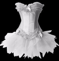 Women Corset & Bustier  charming corsets for lady wedding dress Overbust Bondage corset tutu dress with g-strings black white red free shipping