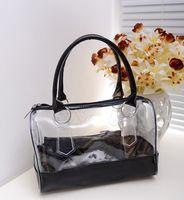 Women plastic tote - 10pcs DHL Wome s Tote Transparent Ladies pvc Bags Candy Color Plastic Handbags GJ08