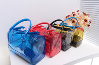 Wholesale 20pcs DHL Wome s Tote Transparent Ladies pvc Bags Candy Color Plastic Handbags GJ08