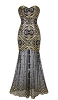 Wholesale Angel Fahions Women Sleeveless Sweetheart Sequins Embroidery Lace Up Gold Long Sheer Prom Gowns Party Dresses