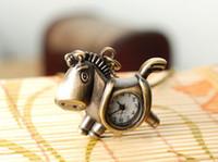 Wholesale ZH Vine Small Horse Fashion Nacklace Watches Vine Style Bronze Color Quartz Pocket Watches Pendant Necklace