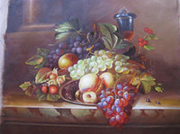 One Panel Oil Painting Still Life  Still Life Oil Paintings For Sale Hand Painted Crafts of a Delicious Grapea and Peach Canvas Wall Pappers Hotel Wall Decorate Artwork DHP069