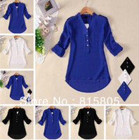 Wholesale New Women s V neck Winter Dress Solid Botton Shirt Womens Chiffon Shirt Silk Tops Loose s Shirts Tops For Women