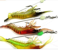 Wholesale Fishing Equipment Soft Silicone Prawn Shrimp Fishing Lure Fishhook Pieces fishing gear
