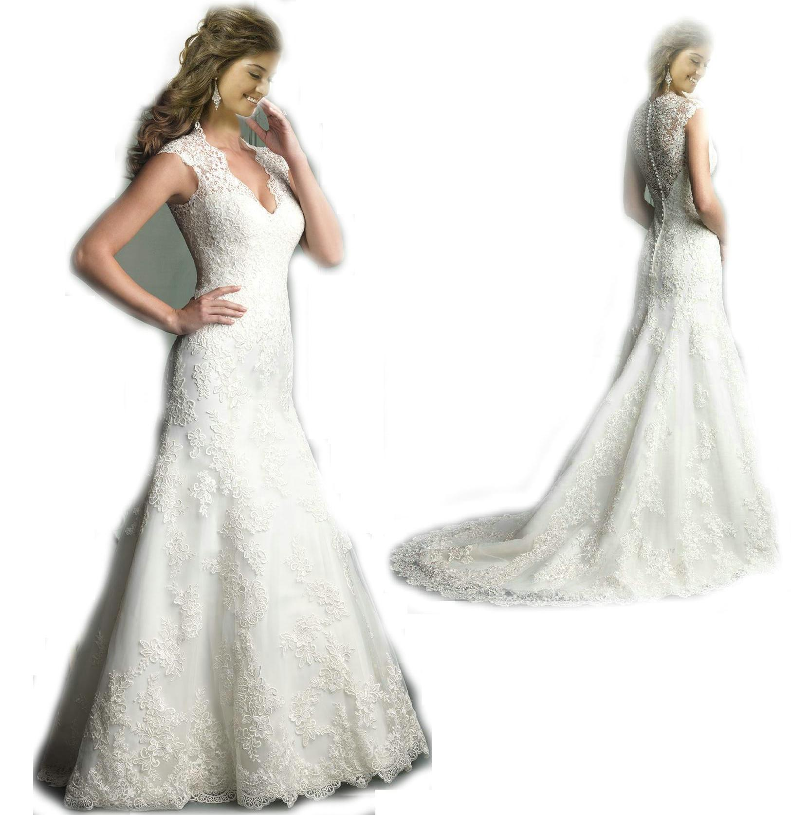 Cheap Sheer Straps Lace Mermaid Wedding Dresses 2014 Plunging V Neck Applique Satin Illusion