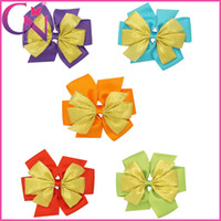 Wholesale Christmas Hair Bow Gold Ribbon Hair Bow For Kids mix colors CNHBW