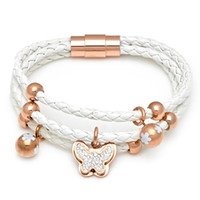 Charm Bracelets Bohemian Unisex New Arrival Leather Bracelet Handmade Leather Bracelet Butterfly Charm White Leather Bracelet For Women Rose Gold Color Magnetic Clasp