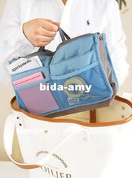 Wholesale - 8 Colors Lady's Organizer Bag Handbag Organizer Travel Bag Organizer Insert With Pockets Storage Bags Free Shipping