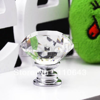 Wholesale 10 mm Diamond Shape Crystal Glass Cabinet Knob Cupboard Drawer Pull Handle TK0636