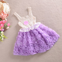 Wholesale 2014 Girls Knitting dress Children s dresses kids wear Rose flower Tutu dress summer chiffon dress princess dress party dress vest dress