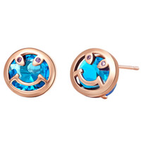Wholesale 41204 Rose Gold Color Smiling Face Blue Zircon Stud Earrings For Women