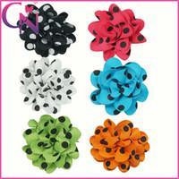 Hair Bows polyester Print Grosgrain Ribbon Hair Flower with Hair Clips Polka Dot Hair Flower For Kids 30pcs lot mix 6 colors CNHBW-13100910