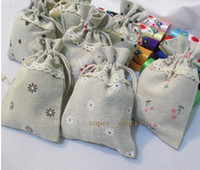 Wholesale Natural Cotton Linen Bag Wedding Gift Bags cm Favor Holder Chocolate Candy Packages Factory Supply Fedex