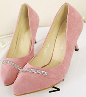 Wholesale Pink Lint Crystal Closed Pointed Toe Platform cm High Heels cm Prom Evening Shoes Wedding Shoes a44