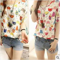 Wholesale ladies summer chiffon t shirt girls short sleeve shirt women fashion tops bag pattern