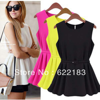 Wholesale With Belt Chiffon Sleeveless Blouse Women O Neck Casual Yellow Black White S XL
