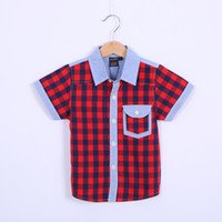 Cheap Baby boy girl t shirt kids Children Tops Tees Summer Wear short Sleeve children clothes plaid tshirts girl all-match casual top